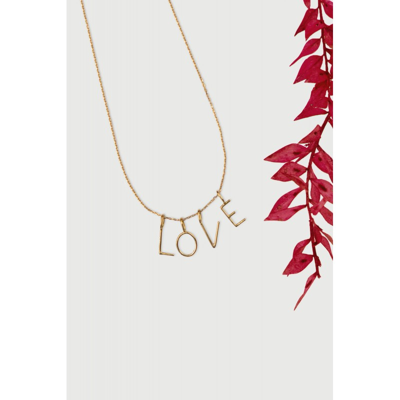 Collier lettres LOVE or jaune